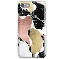 Rose gold black white marble color block stylish iPhone Case/Skin