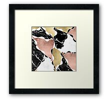Rose gold black white marble color block stylish Framed Print