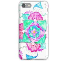 Bright pink turquoise floral watercolor mandala iPhone Case/Skin