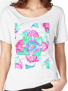 Bright pink turquoise floral watercolor mandala Women's Relaxed Fit T-Shirt