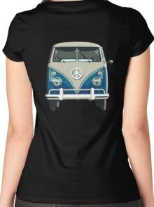 Volkswagen, Van, VW, Camper, Blue, Split screen, 1966 Volkswagen, Kombi (North America) Women's Fitted Scoop T-Shirt