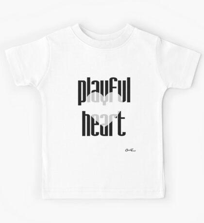 Heartful - Playful Heart in Black on White Kids Tee