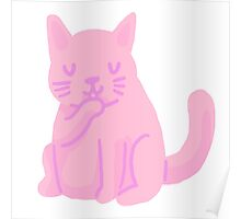 small pink cat Poster