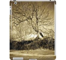 A digital painting in an old print style of a Romanian Winter scene iPad Case/Skin