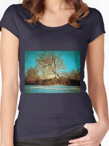 A digital painting of a Romanian Winter scene Women's Fitted Scoop T-Shirt
