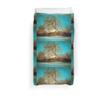 A digital painting of a Romanian Winter scene Duvet Cover