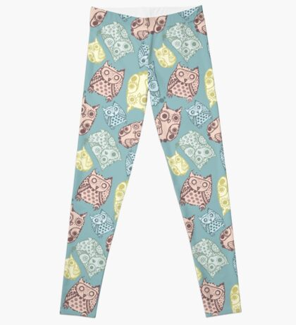 Contour funny owls seamless pattern. Ink splashes owl. Cute animal. Leggings