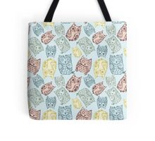 Contour funny owls seamless pattern. Ink splashes owl. Cute animal. Tote Bag