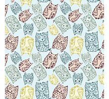 Contour funny owls seamless pattern. Ink splashes owl. Cute animal. Photographic Print