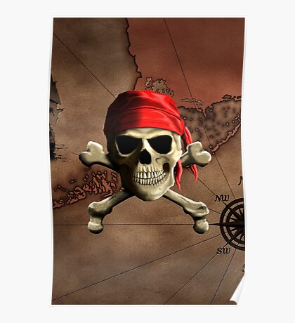 The Jolly Roger Pirate Map Poster
