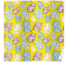 Contour funny owls seamless pattern. Ink splashes owl. Cute animal. Poster