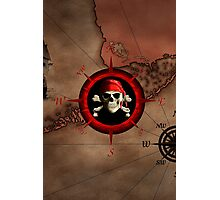 Pirate Compass Rose And Map Photographic Print