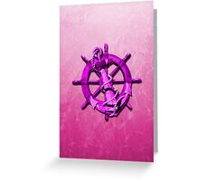 Pink Nautical Ships Wheel And Anchor Greeting Card