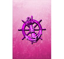 Pink Nautical Ships Wheel And Anchor Photographic Print