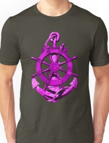 Pink Nautical Ships Wheel And Anchor Unisex T-Shirt