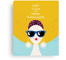 Vogue style woman in sunglasses- leo horoscope. Canvas Print