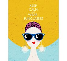 Vogue style woman in sunglasses- leo horoscope. Photographic Print