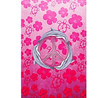 Dolphin Peace Pink Flowers Photographic Print