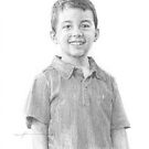 boy in polo shirt drawing by Mike Theuer