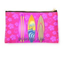 Pink Born To Surf Pink Flowers Studio Pouch