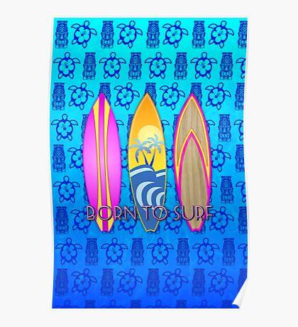 Pink Born To Surf Blue Tiki Mask Poster