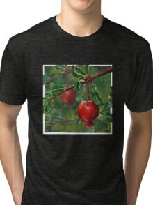 Hand Painted Red Pomegranate Fruit with Green Leaf Background Tri-blend T-Shirt