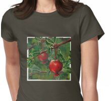 Hand Painted Red Pomegranate Fruit with Green Leaf Background Womens Fitted T-Shirt