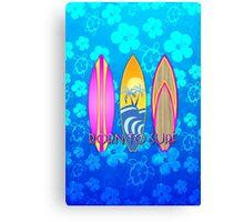 Born To Surf Blue Honu Canvas Print