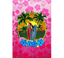 Tropical Sunset Pink Flower Photographic Print