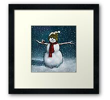 Snowman with Little Chickadee; Oil Pastel Painting Framed Print