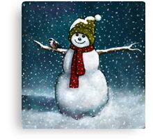Snowman with Little Chickadee; Oil Pastel Painting Canvas Print