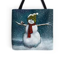 Snowman with Little Chickadee; Oil Pastel Painting Tote Bag
