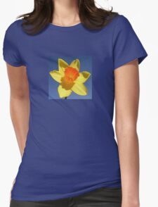 Yellow and Orange Colored Daffodil Close Up Womens Fitted T-Shirt