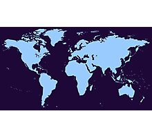 Light blue world map Photographic Print