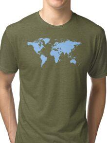 Light blue world map Tri-blend T-Shirt