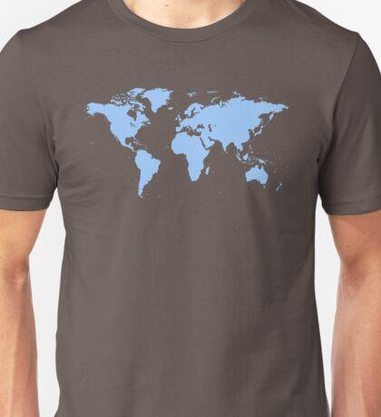 Light blue world map Unisex T-Shirt