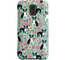 Floral Boston Terrier cute dog spring bloom love valentines day gift terrier black and white puppy Samsung Galaxy Case/Skin