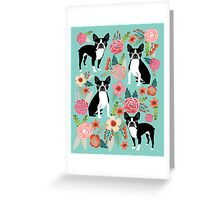 Floral Boston Terrier cute dog spring bloom love valentines day gift terrier black and white puppy Greeting Card