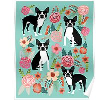 Floral Boston Terrier cute dog spring bloom love valentines day gift terrier black and white puppy Poster