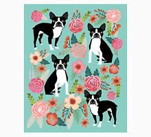 Floral Boston Terrier cute dog spring bloom love valentines day gift terrier black and white puppy Classic T-Shirt