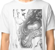 Katsuro - spilled ink marble paper map topography painting black and white minimal ocean swirl Classic T-Shirt