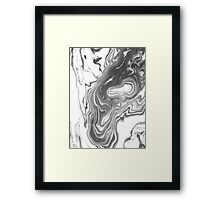 Katsuro - spilled ink marble paper map topography painting black and white minimal ocean swirl Framed Print