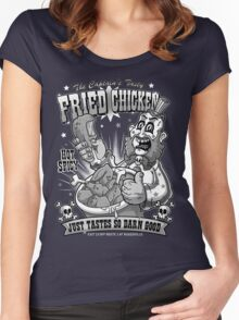 Tasty Fried Chicken- Black and White version Women's Fitted Scoop T-Shirt