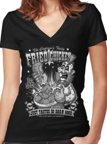 Tasty Fried Chicken- Black and White version Women's Fitted V-Neck T-Shirt
