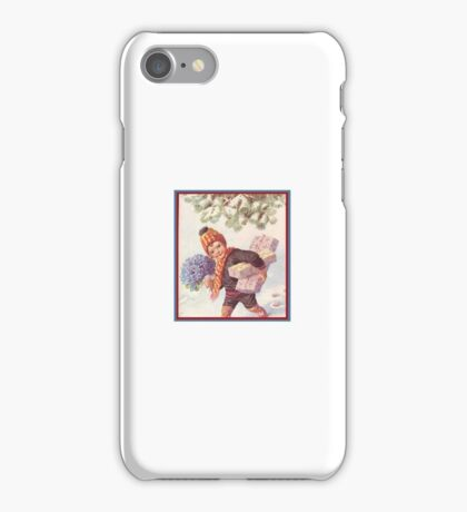 Forget Me Not Bouquet of Flowers Child Bringing Gifts Vintage Kirsten Holiday iPhone Case/Skin