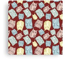 Contour funny owls seamless pattern. Ink splashes owl. Cute animal. Canvas Print
