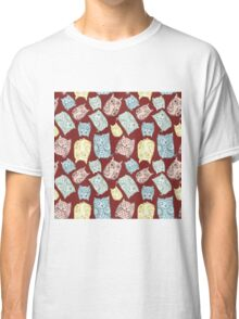 Contour funny owls seamless pattern. Ink splashes owl. Cute animal. Classic T-Shirt