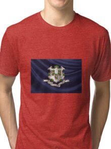 Connecticut Coat of Arms over State Flag Tri-blend T-Shirt