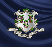 Connecticut Coat of Arms over State Flag by Serge Averbukh
