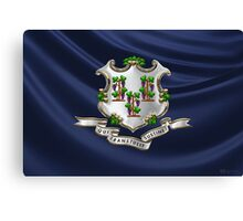 Connecticut Coat of Arms over State Flag Canvas Print